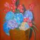 Caldero con hortensias